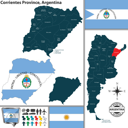 Vector map of Corrientes province and location on Argentinian map Illusztráció