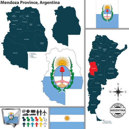 Vector map of Mendoza province and location on Argentinian map