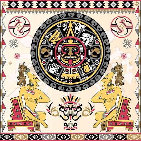 Vector de conjunto de antiguos adornos americanos con calendario azteca en un centro Ilustración de vector