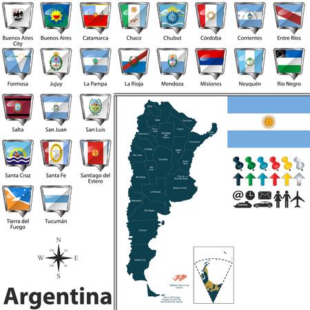 Vektorkarte von Argentinien mit Regionen und Flaggen von Staaten