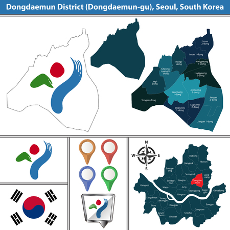 Vector map of Dongdaemun District or Gu of Seoul metropolitan city in South Korea with flags and icons