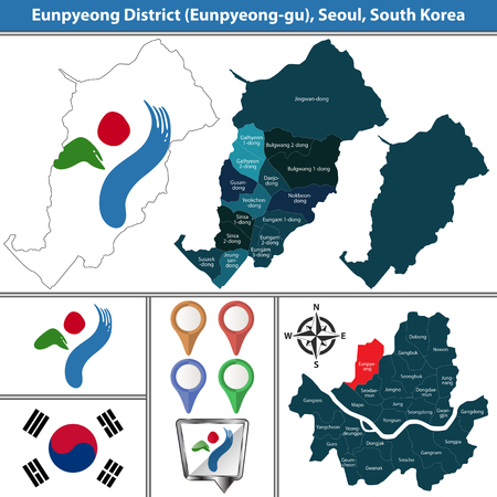 Vector map of Eunpyeong District or Gu of Seoul metropolitan city in South Korea with flags and icons 向量圖像