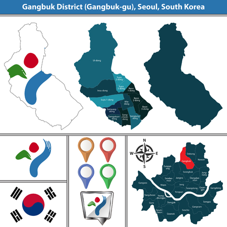 Vector map of Gangbuk District or Gu of Seoul metropolitan city in South Korea with flags and icons