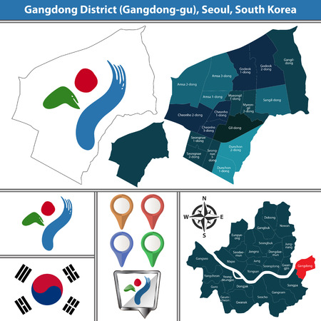 Vector map of Gangdong District or Gu of Seoul metropolitan city in South Korea with flags and icons 向量圖像