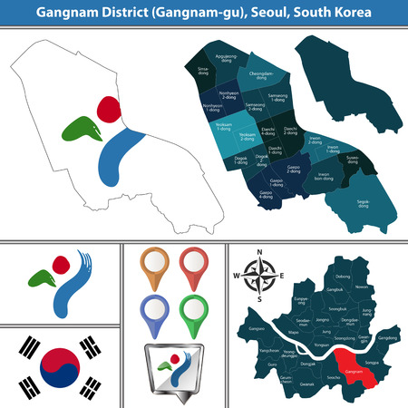 Vector map of Gangnam District or Gu of Seoul metropolitan city in South Korea with flags and icons Reklamní fotografie - 124629008