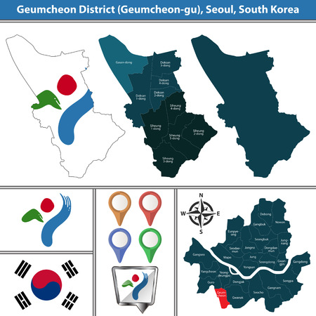 Vector map of Geumcheon District or Gu of Seoul metropolitan city in South Korea with flags and icons