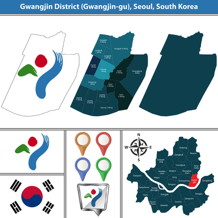 Vector map of Gwangjin District or Gu of Seoul metropolitan city in South Korea with flags and icons