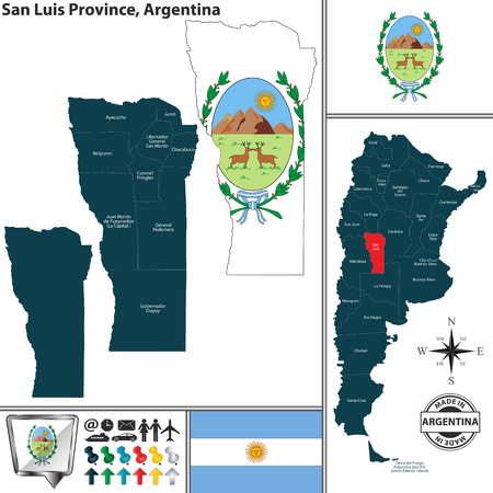 Vector map of San Luis province and location on Argentinian map
