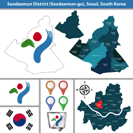 Vector map of Seodaemun District or Gu of Seoul metropolitan city in South Korea with flags and icons