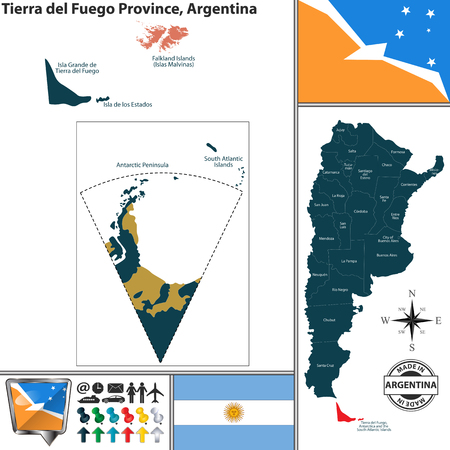Vector map of Tierra del Fuego province and location on Argentinian map Illustration