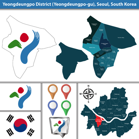 Vector map of Yeongdeungpo District or Gu of Seoul metropolitan city in South Korea with flags and icons