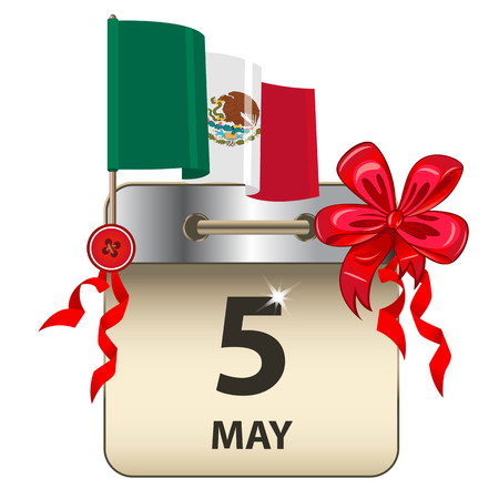 Vector of Cinco de Mayo or Fifth of May calendar with bow and Mexican flag
