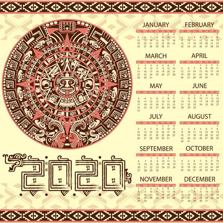 Calendario de vector 2020 en estilo azteca Ilustración de vector