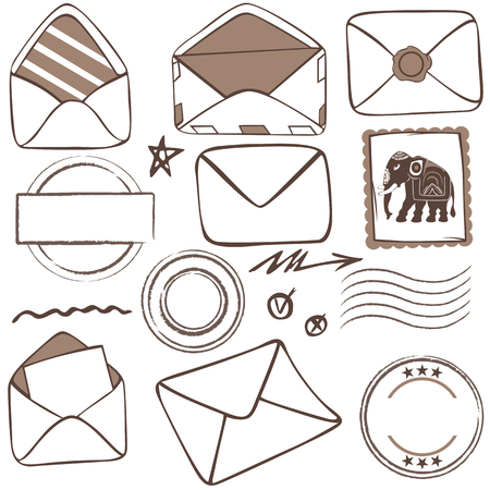 Vector of mailing icons with envelopes and stamps on white background