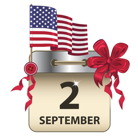 Vector of Labor Day calendar, a public holiday in the United States, with bow and flag 向量圖像