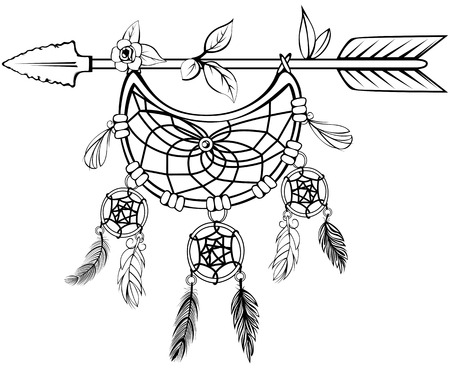 Vector of wooden arrow with floral ornaments, dreamcatcher and feathers