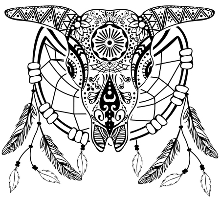 Vector of bull scull with dream catcher in tribal tattoo style