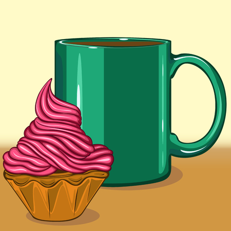 Vector of cupcake with coffee in big green mug 向量圖像