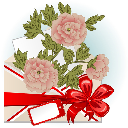Vector of envelope with peonies, big red bow and greeting card