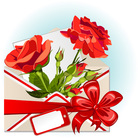 Vector of envelope with roses, big red bow and greeting card Vecteurs