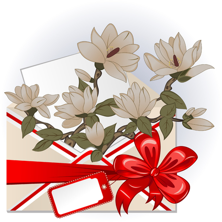 Vector of envelope with magnolias, big red bow and greeting card