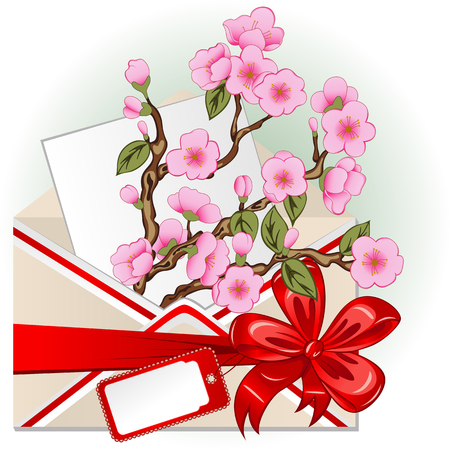 Vector of envelope with cherry blossom, big red bow and greeting card
