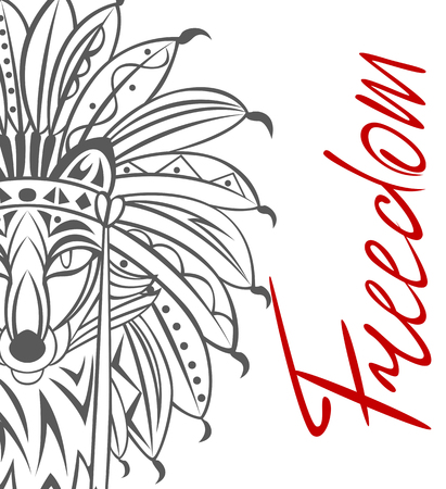 Vector of tribal fox with indian headdress, ornaments and handrown word Freedom