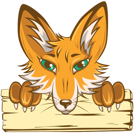 Vector head and paws of fox with wooden board on white background