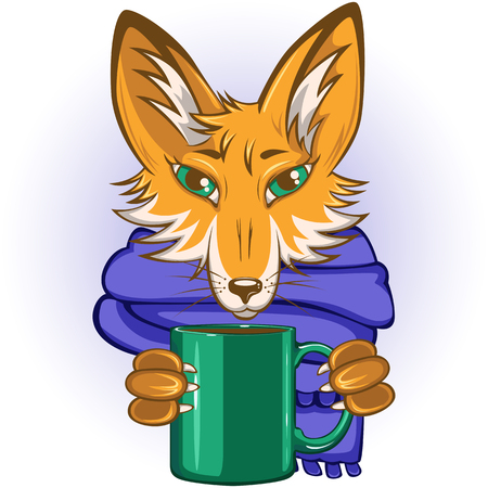 Vector of cute fox with blue scarf and green mug in paws
