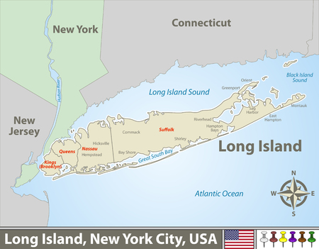 Vector map of Long Island - a region within the US state of New York Zdjęcie Seryjne - 124629412