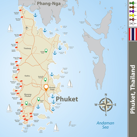 Vector of Phuket Province, Thailand. Map contains Phuket and Phang-Nga islands, roads and beaches icons Illustration