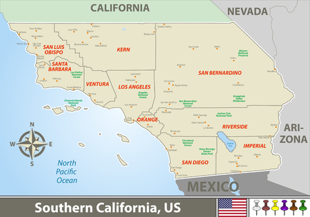 Vector set of Southern California, United States with neighboring counties
