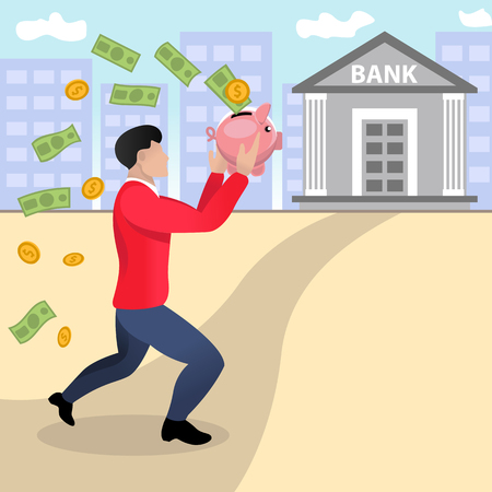 Running businessman to the bank with piggy bank in his hands. Vector illustration of flat cartoon design