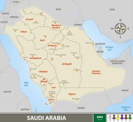 Vector map of Saudi Arabia with neighboring countries