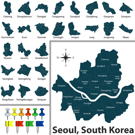 Vector map of Seoul, South Korea, with districts maps and icons