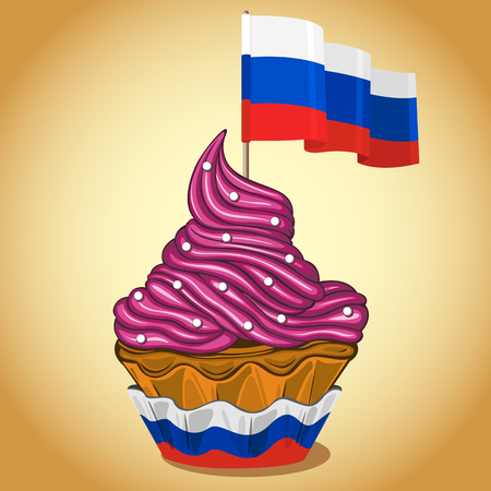 Vector of cupcake with whipped cream and Russian flag