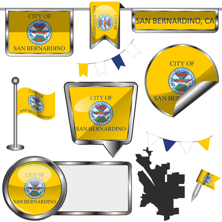 Vector glossy icons of flag of San Bernardino, California in the United States