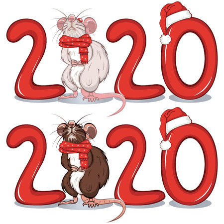 Vector of cartoon white and brown rats in warm scarfs among of the text 2020 向量圖像