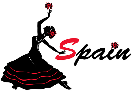 Vector illustrations of woman flamenco dancer with word Spain and flowers