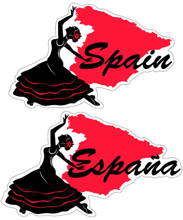 Vector illustrations of woman flamenco dancer with word Spain or Espana (Spanish language) and Spanish map