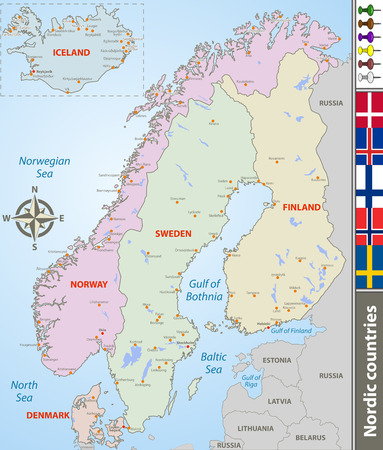 Vector map of Nordic countries with big cities and flags 免版税图像 - 124629459
