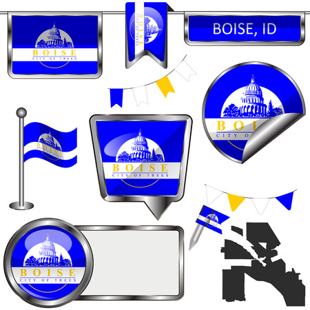 Vector glossy icons of flag of Boise, Idaho of the United States on white