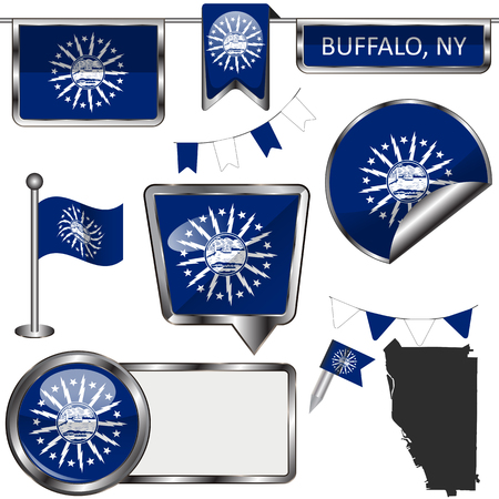 Vector glossy icons of flag of Buffalo, New York of the United States on white