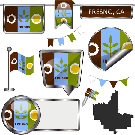 Vector glossy icons of flag of Fresno, California of the United States on white 向量圖像