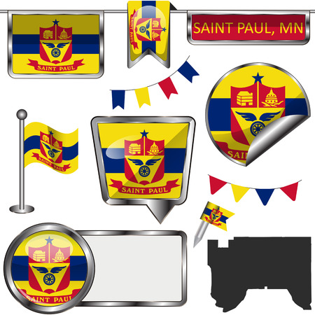 Vector glossy icons of flag of Saint Paul, Minnesota of the United States on white