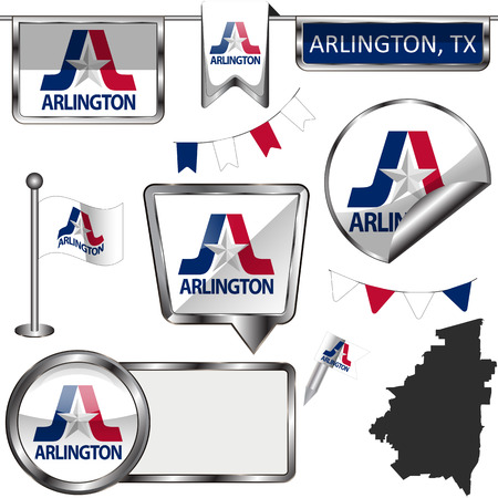 Vector glossy icons of flag of Arlington, Texas of the United States on white 向量圖像