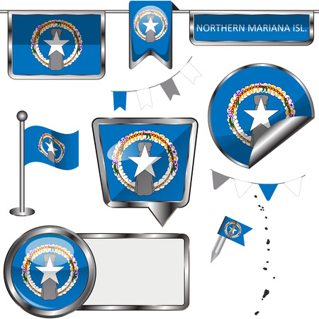 Vector glossy icons of flag of Northern Mariana Islands on white