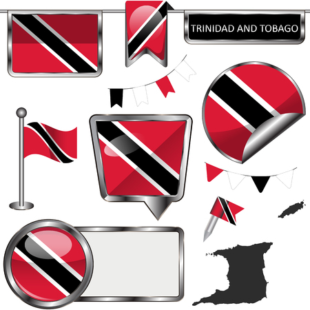 Vector glossy icons of flag of Trinidad and Tobago on white