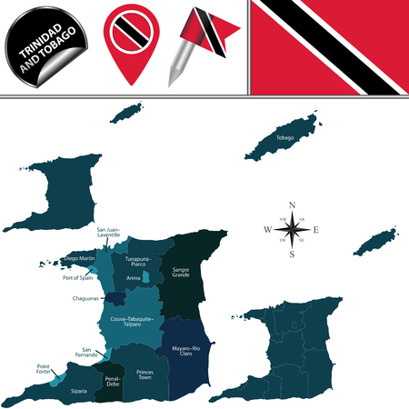 Vector map of Trinidad and Tobago with named corporations and municipalities and travel icons