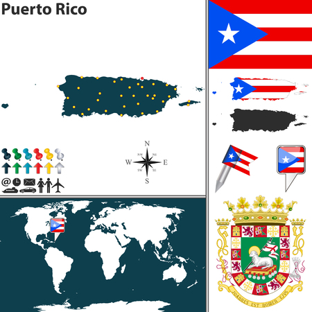 Vector map of Puerto Rico with coat of arms and location on world map Vectores